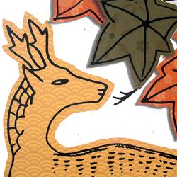 Фрагмент карты ханафуды - олень под кленами