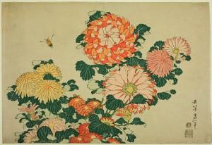 01 - Katsushika Hokusai - Chrysanthemum and Bee - 1833