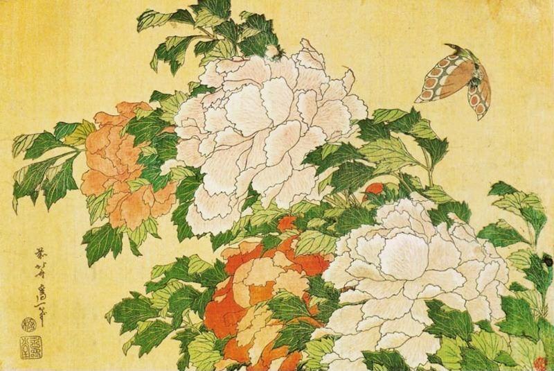 01 - Peonies and Butterfly Katsushika Hokusai