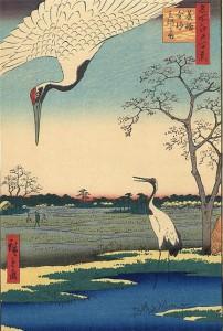02 - Селения Минова, Канасуги и Микавасима -Сто знаменитых видов Эдо - Андо Хиросигэ