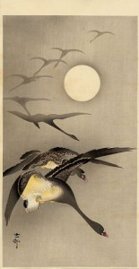 03 - Koson Eight White-fronted Geese in Flight; full Moon behind