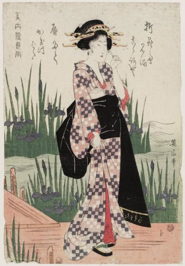 Woman Viewing Iris at Yatsuhashi, from the series Beauties Matched with Hokku - Kikugawa Eizan - Museum of Fine Arts