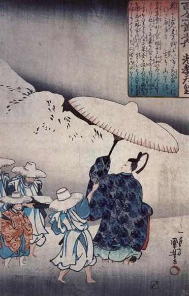 """Изображение императора Коко под зонтиком, входящее в серию Из поэтической антологии """"Хякунин иссю"""" Утагавы Куниёси."""
