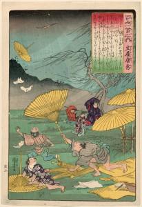 Утагава Куниёси выполнил иллюстрацию к поэме, сосредоточившись на изображении бури и порывов ветра.